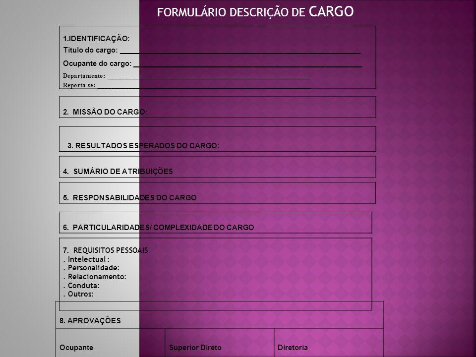 FORMULÁRIO DESCRIÇÃO DE CARGO