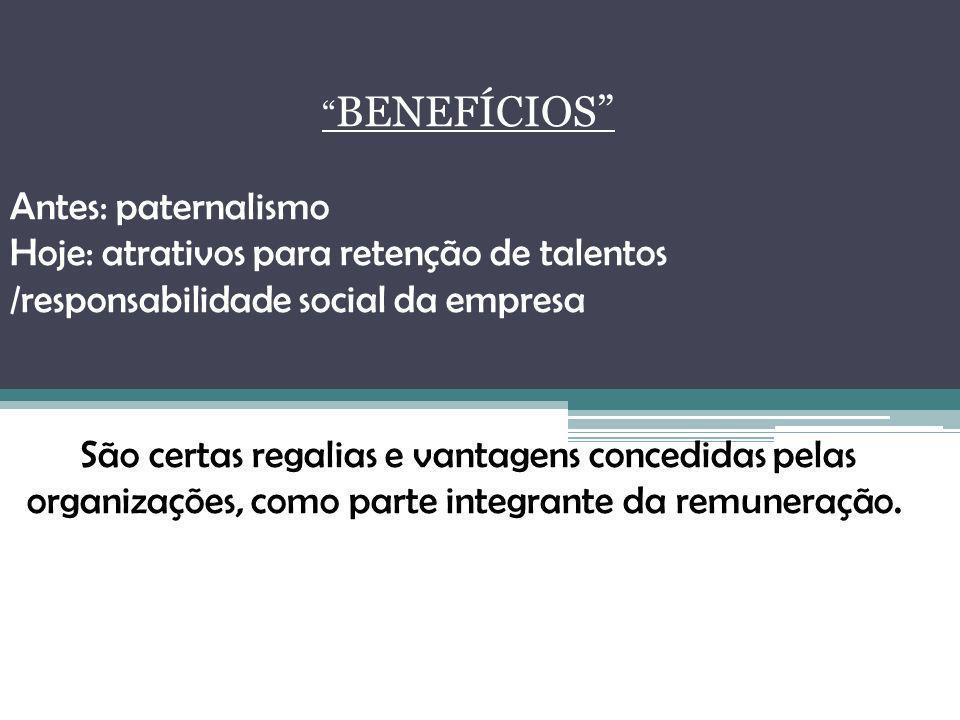 BENEFÍCIOS Antes: paternalismo. Hoje: atrativos para retenção de talentos /responsabilidade social da empresa.