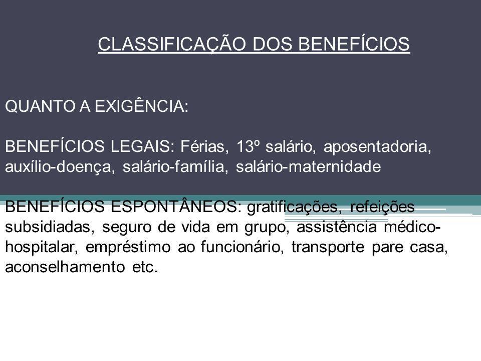 CLASSIFICAÇÃO DOS BENEFÍCIOS