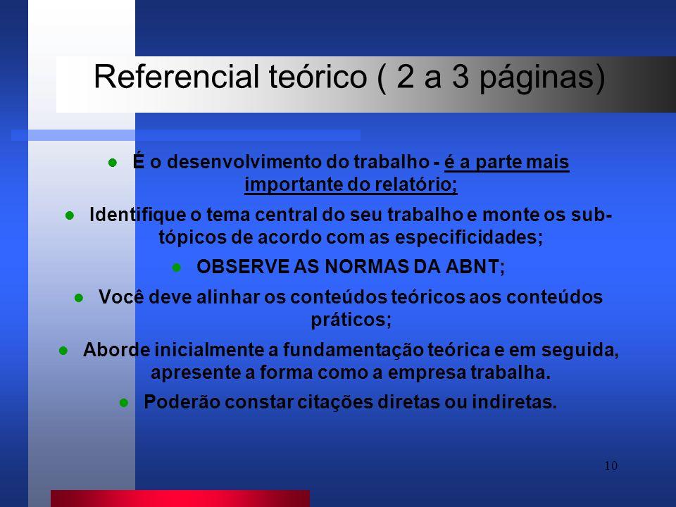 Referencial teórico ( 2 a 3 páginas)