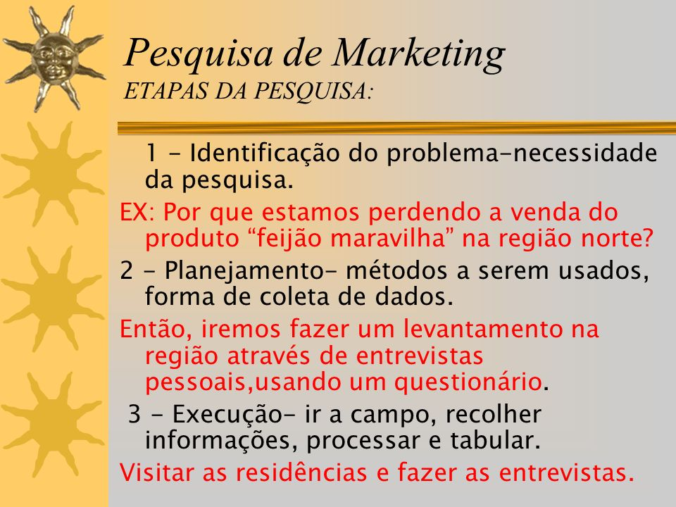 Pesquisa de Marketing ETAPAS DA PESQUISA: