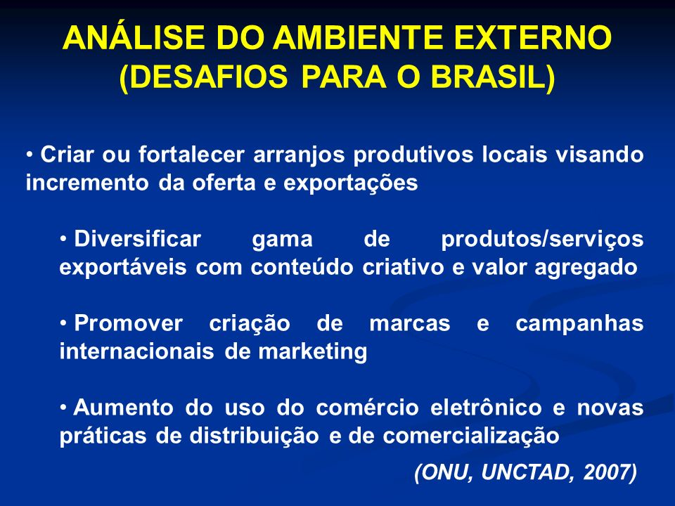 ANÁLISE DO AMBIENTE EXTERNO (DESAFIOS PARA O BRASIL)