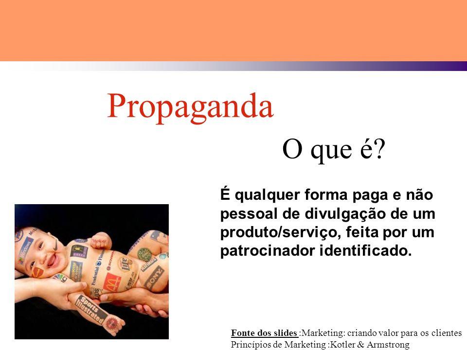 Propaganda O que é É qualquer forma paga e não pessoal de divulgação de um produto/serviço, feita por um patrocinador identificado.
