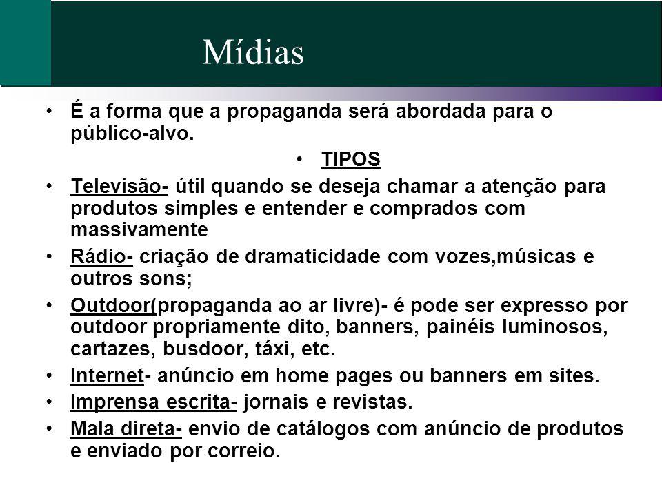 Mídias É a forma que a propaganda será abordada para o público-alvo.