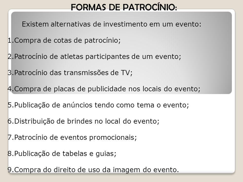 FORMAS DE PATROCÍNIO: Existem alternativas de investimento em um evento: Compra de cotas de patrocínio;