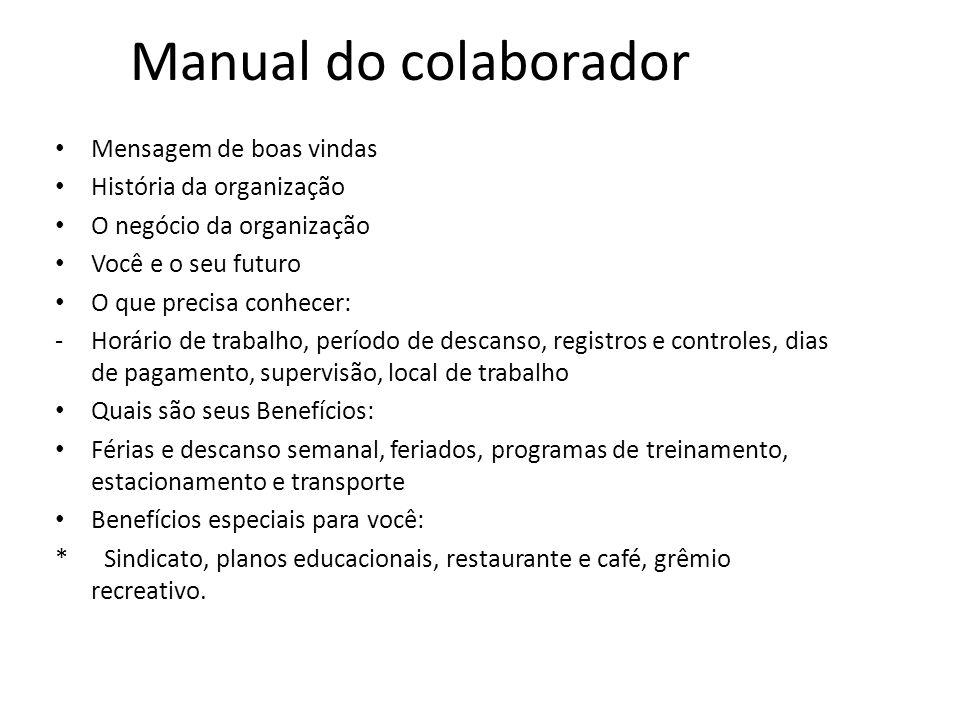 Manual do colaborador Mensagem de boas vindas História da organização