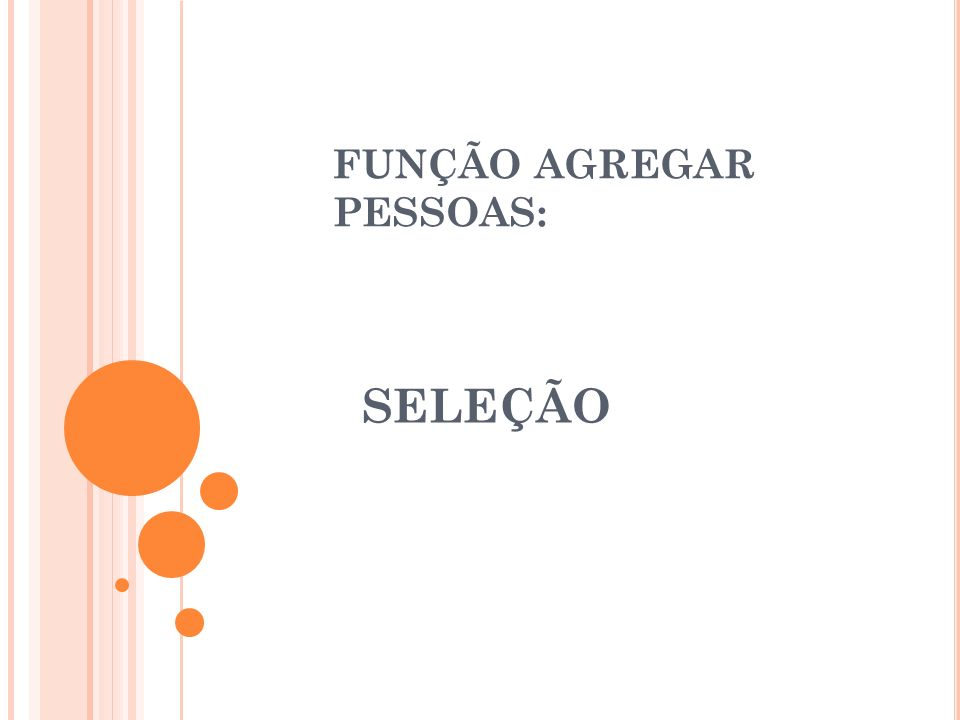 FUNÇÃO AGREGAR PESSOAS: