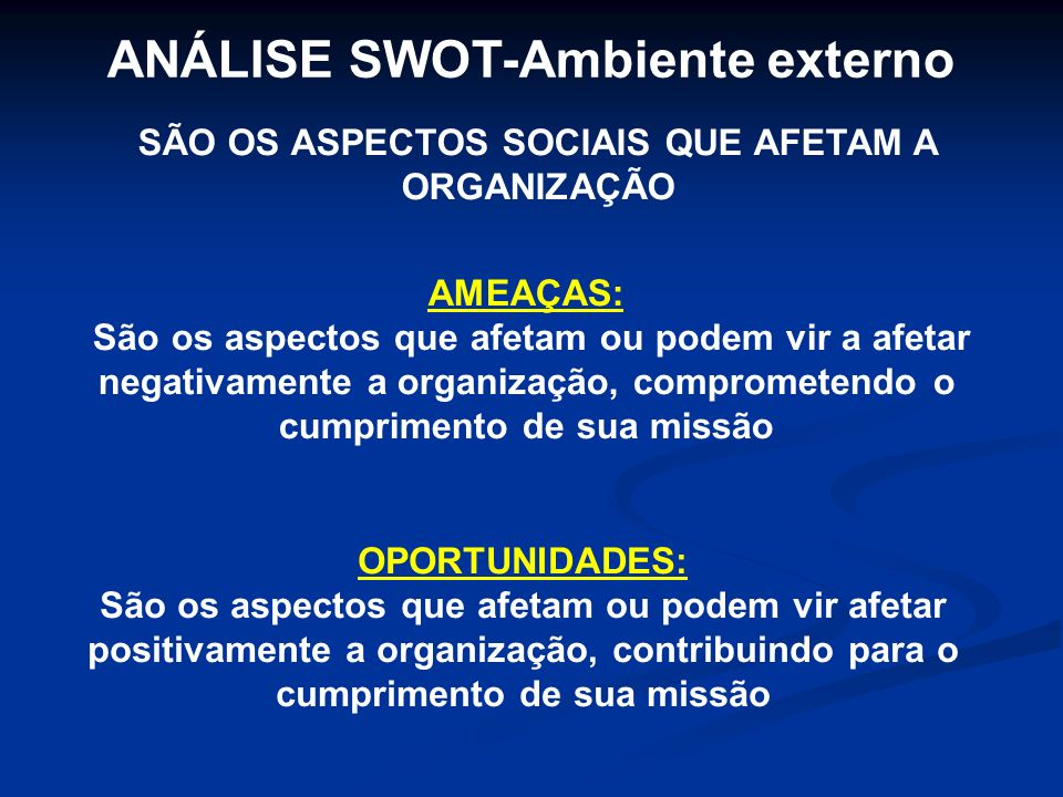 ANÁLISE SWOT-Ambiente externo