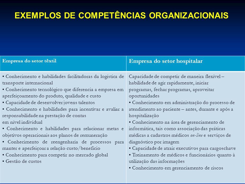 EXEMPLOS DE COMPETÊNCIAS ORGANIZACIONAIS