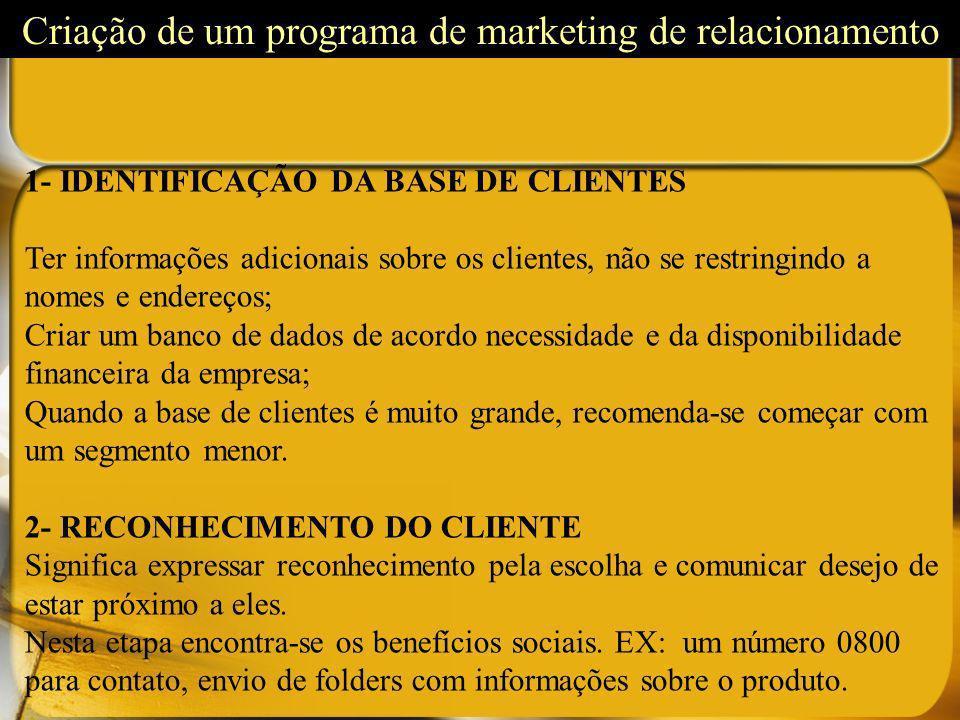 Criação de um programa de marketing de relacionamento