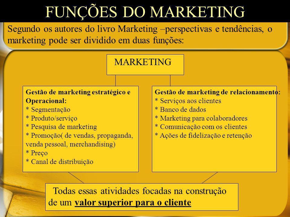 Segundo os autores do livro Marketing –perspectivas e tendências, o marketing pode ser dividido em duas funções: