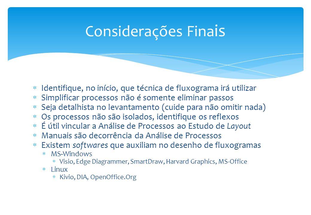 Considerações Finais Identifique, no início, que técnica de fluxograma irá utilizar. Simplificar processos não é somente eliminar passos.