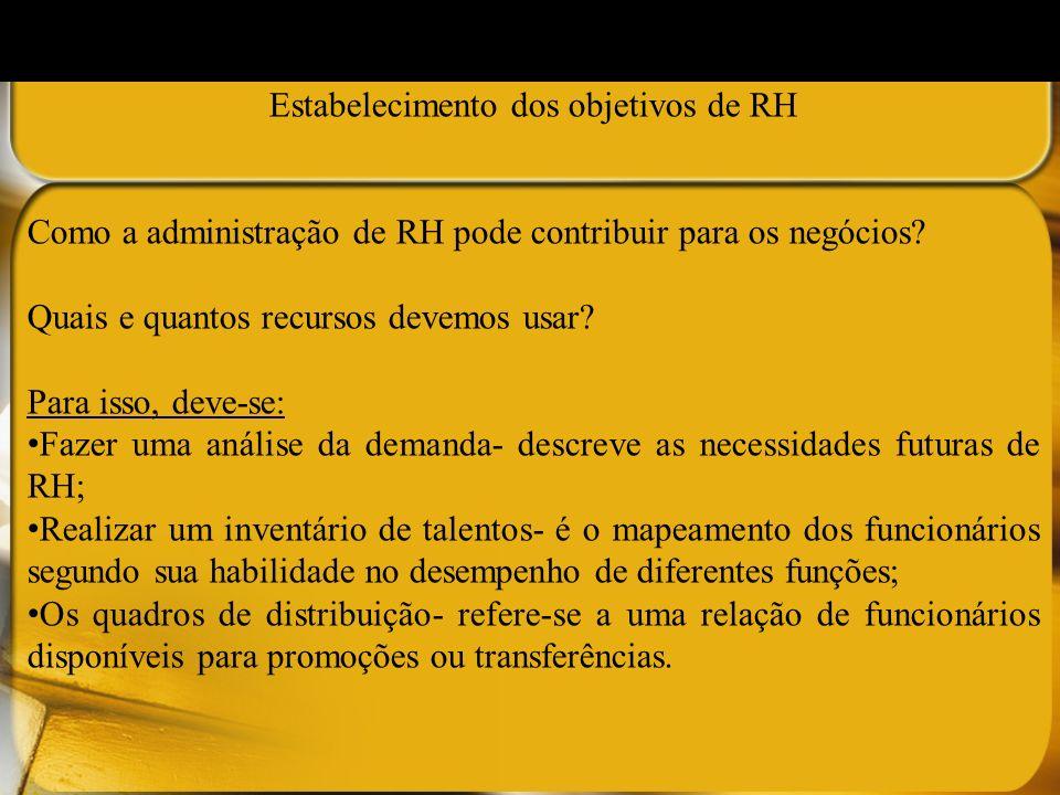 Estabelecimento dos objetivos de RH