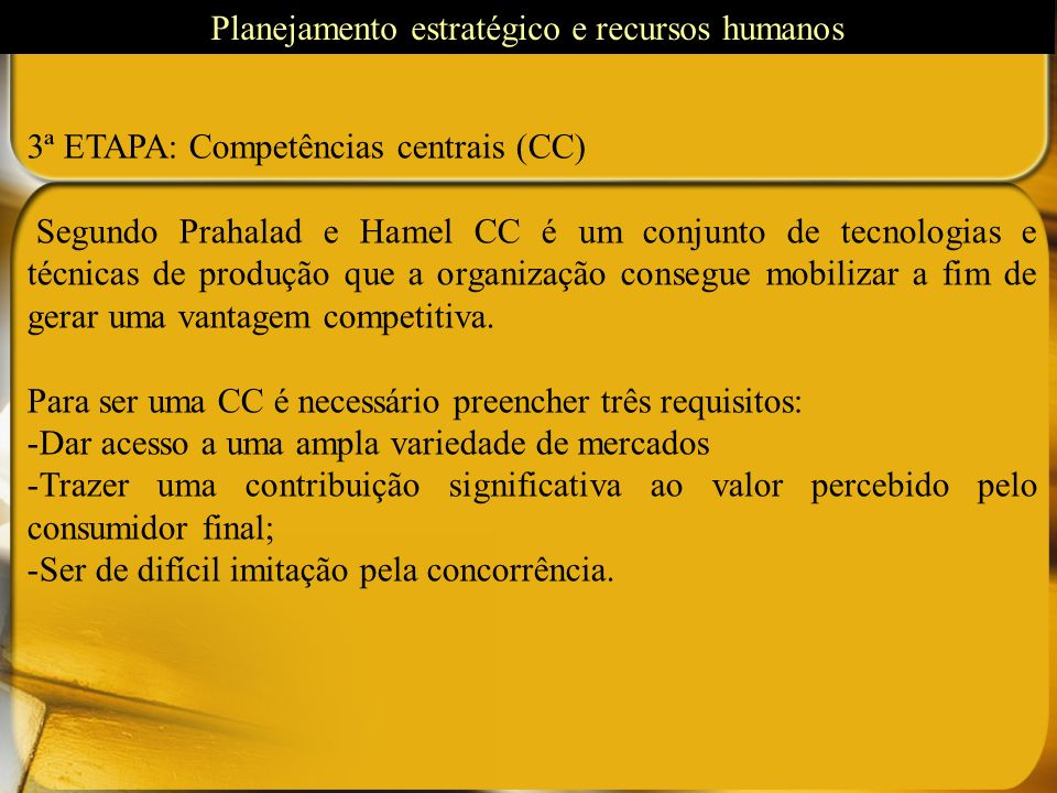 Planejamento estratégico e recursos humanos