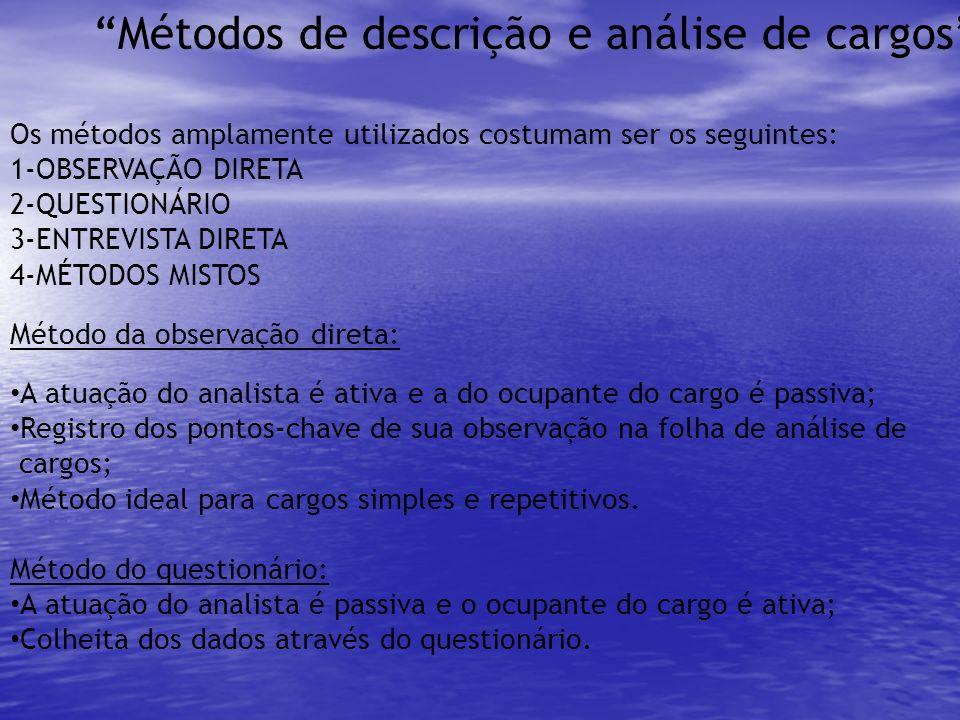 Métodos de descrição e análise de cargos