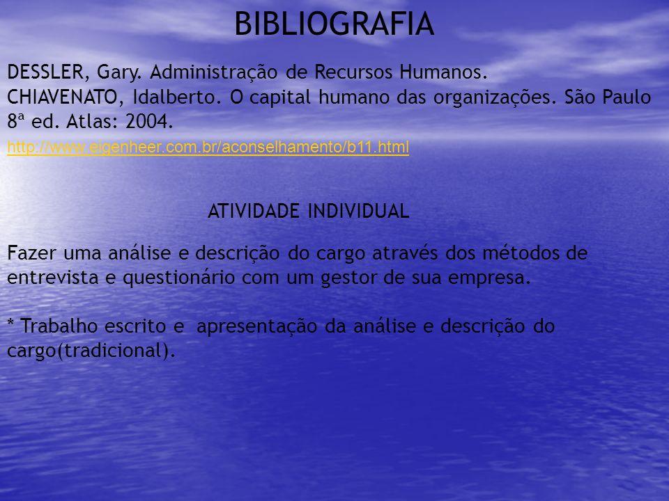 BIBLIOGRAFIA DESSLER, Gary. Administração de Recursos Humanos.