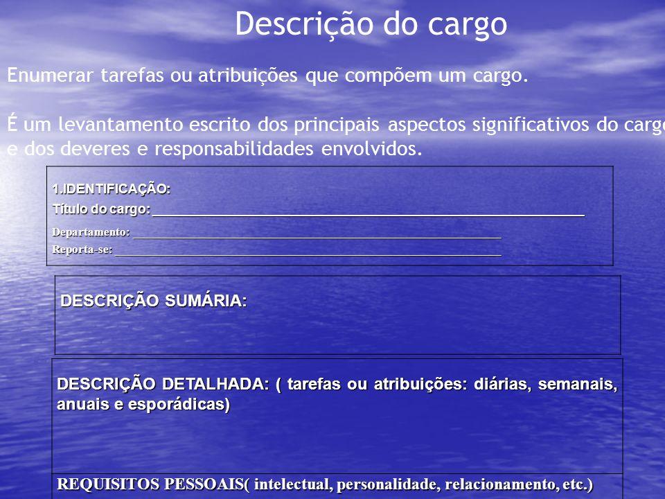 Descrição do cargoEnumerar tarefas ou atribuições que compõem um cargo. É um levantamento escrito dos principais aspectos significativos do cargo.