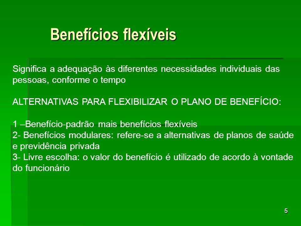 Benefícios flexíveis Significa a adequação às diferentes necessidades individuais das pessoas, conforme o tempo.