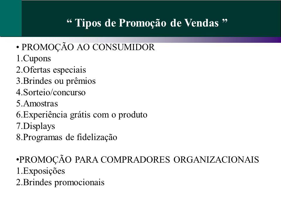 Tipos de Promoção de Vendas
