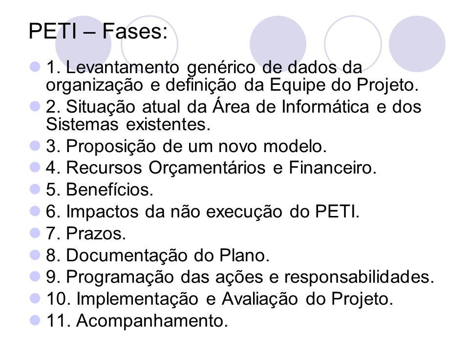 PETI – Fases: 1. Levantamento genérico de dados da organização e definição da Equipe do Projeto.
