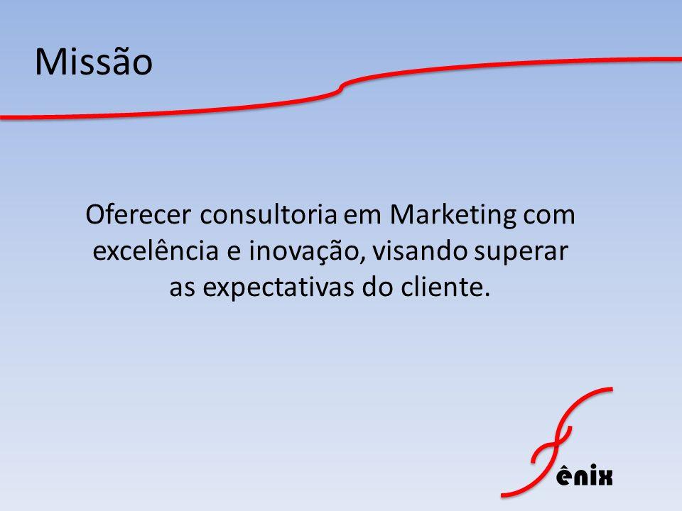 Missão Oferecer consultoria em Marketing com excelência e inovação, visando superar as expectativas do cliente.