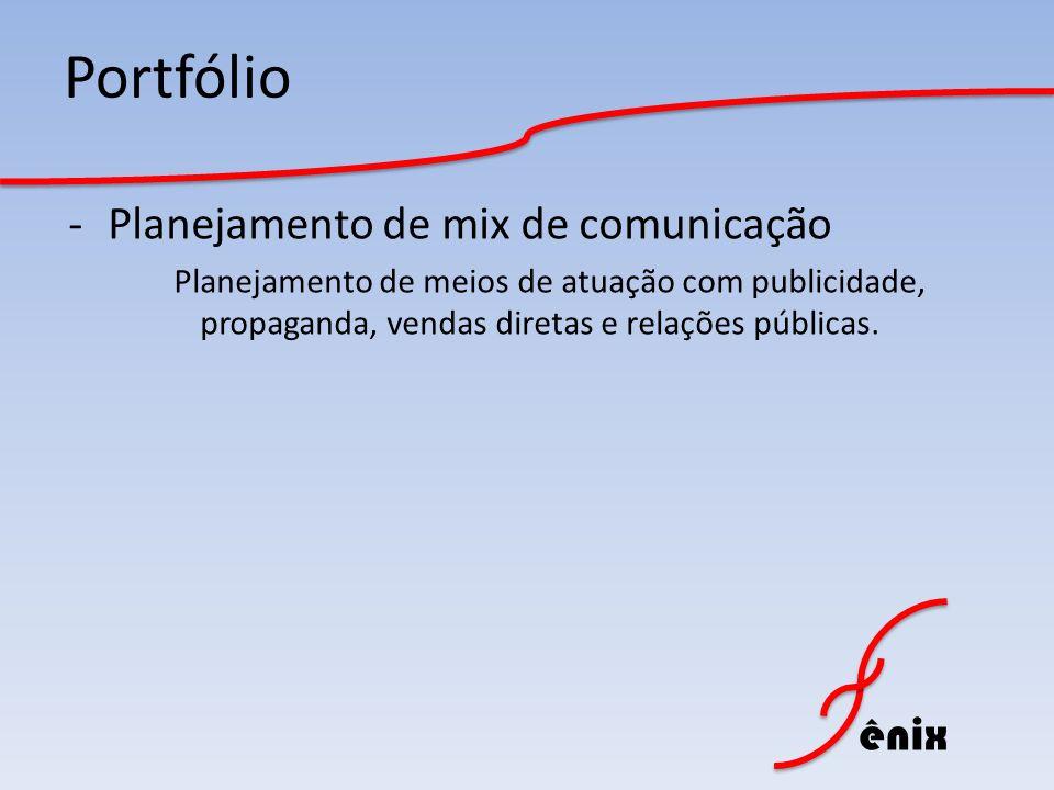 Portfólio Planejamento de mix de comunicação