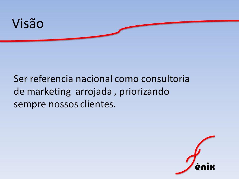 Visão Ser referencia nacional como consultoria de marketing arrojada , priorizando sempre nossos clientes.