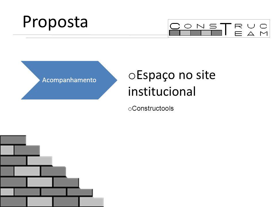 Proposta Acompanhamento Espaço no site institucional Constructools