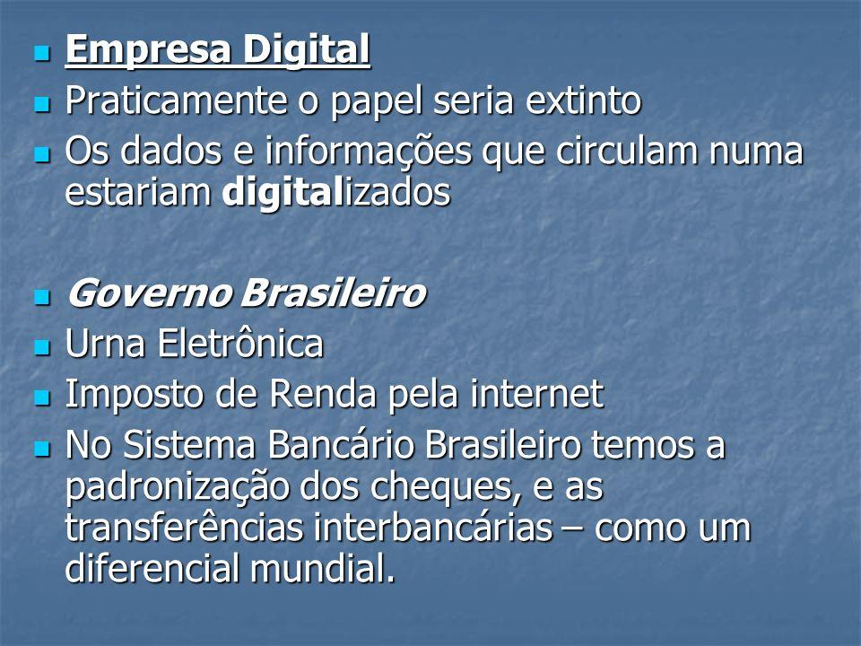 Empresa Digital Praticamente o papel seria extinto. Os dados e informações que circulam numa estariam digitalizados.
