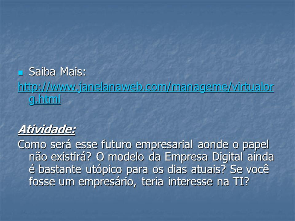 Saiba Mais: http://www.janelanaweb.com/manageme/virtualorg.html. Atividade: