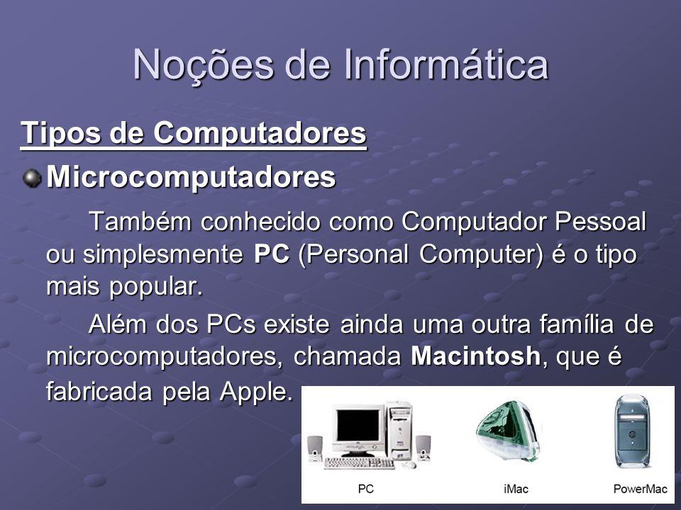Noções de Informática Tipos de Computadores Microcomputadores