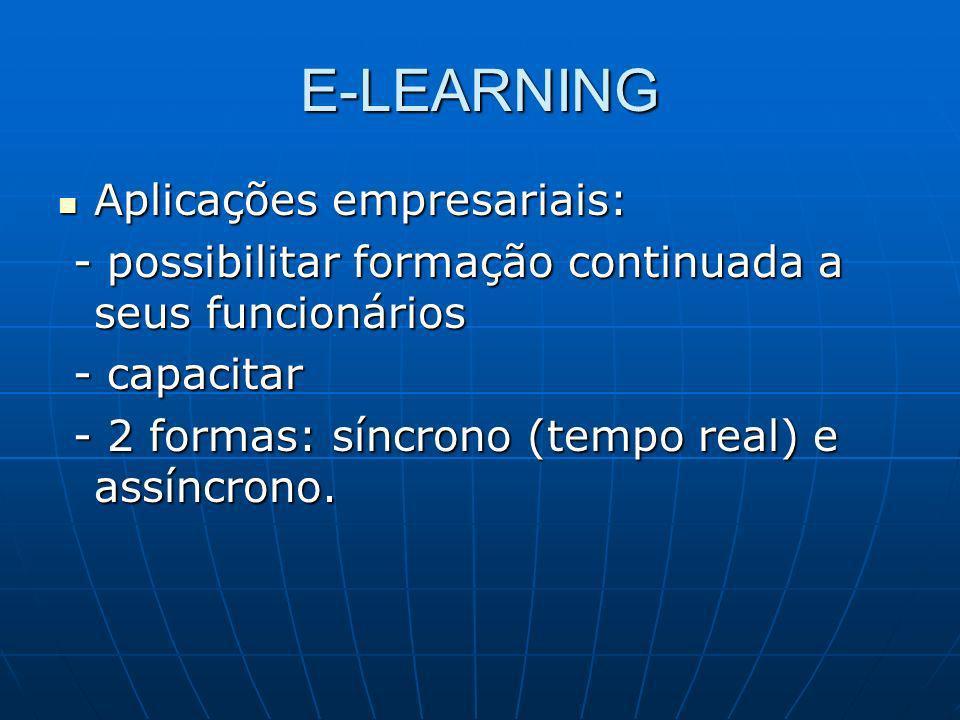 E-LEARNING Aplicações empresariais: