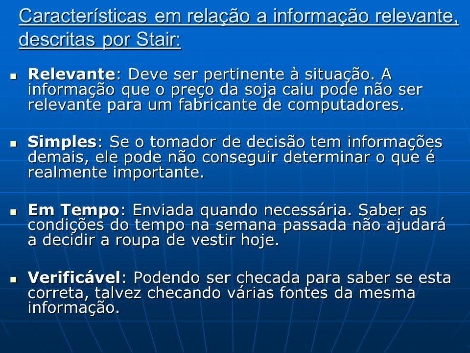 Características em relação a informação relevante, descritas por Stair: