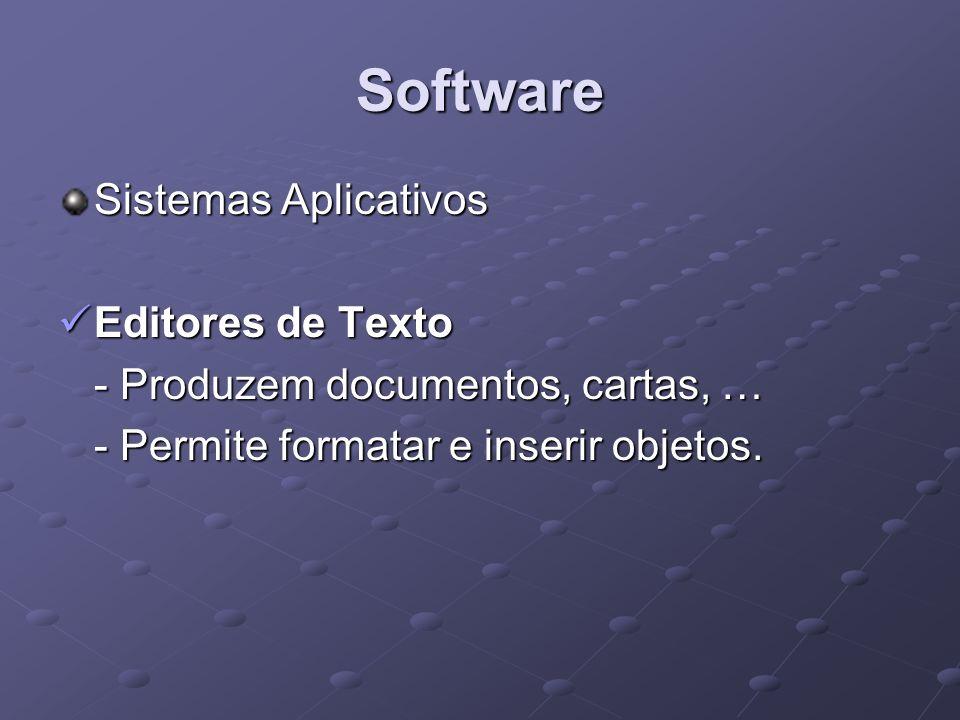 Software Sistemas Aplicativos Editores de Texto