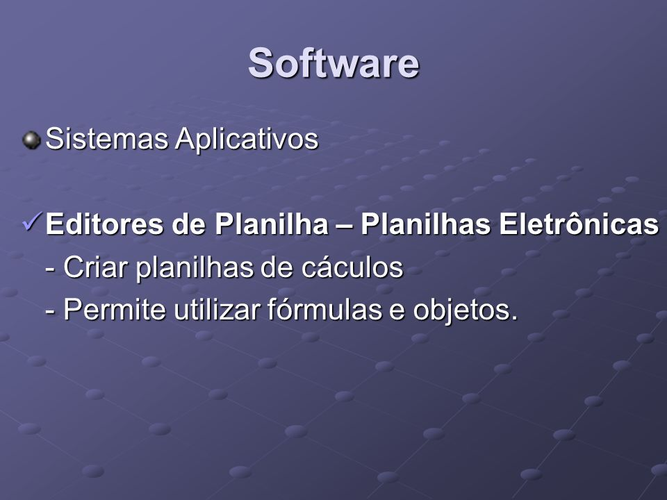 Software Sistemas Aplicativos