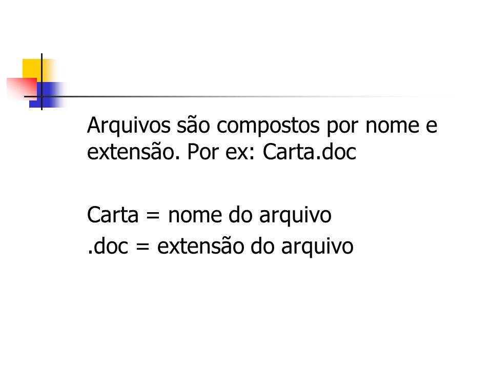 Arquivos são compostos por nome e extensão. Por ex: Carta.doc