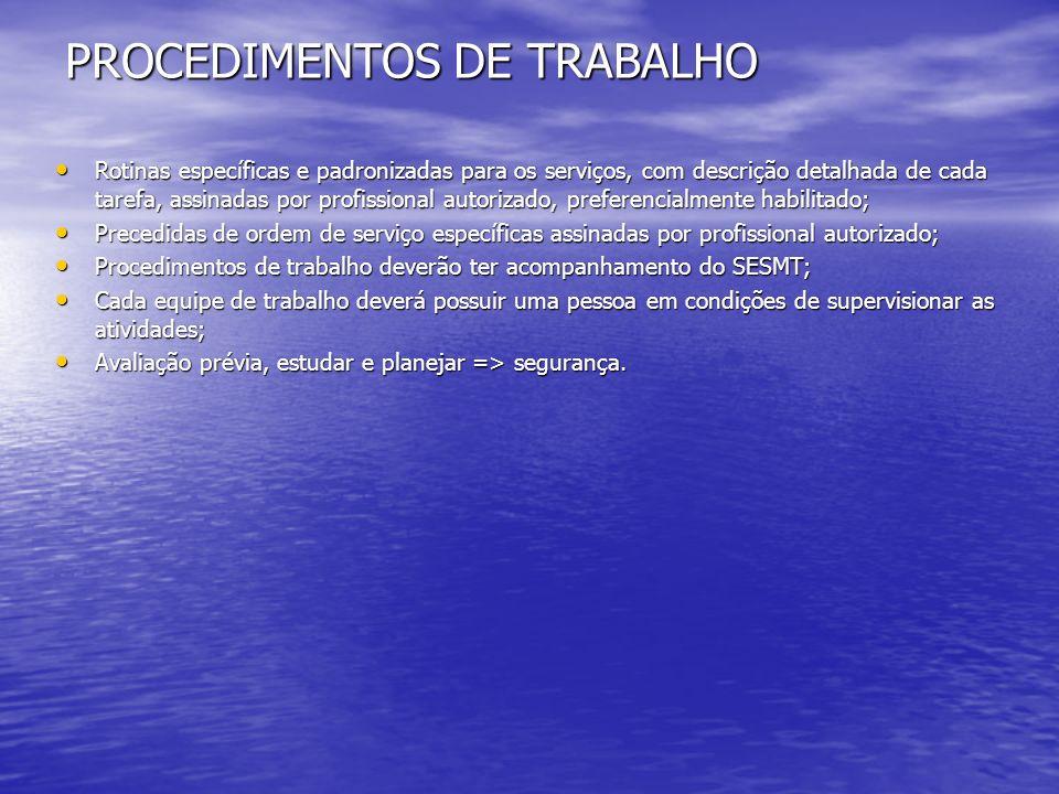 PROCEDIMENTOS DE TRABALHO