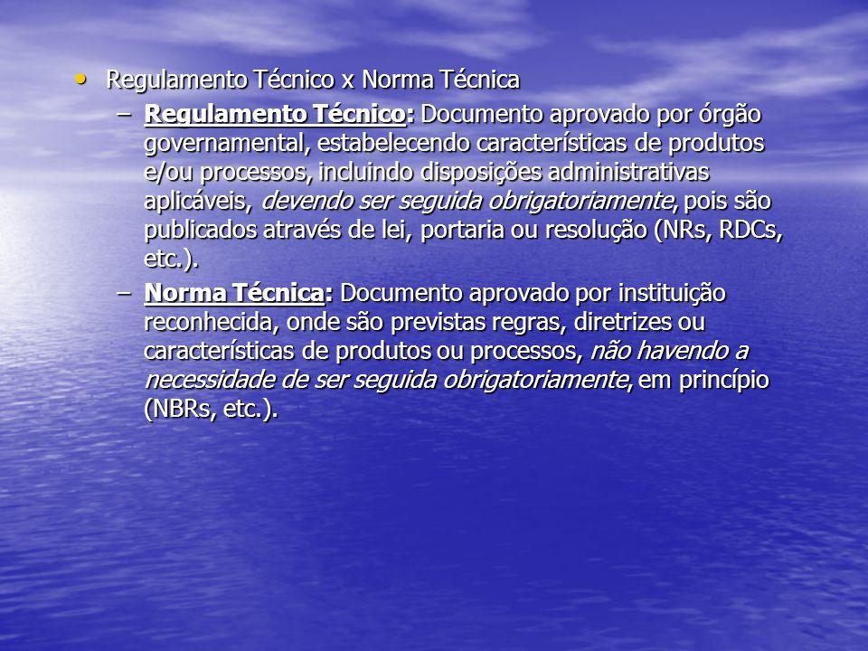 Regulamento Técnico x Norma Técnica