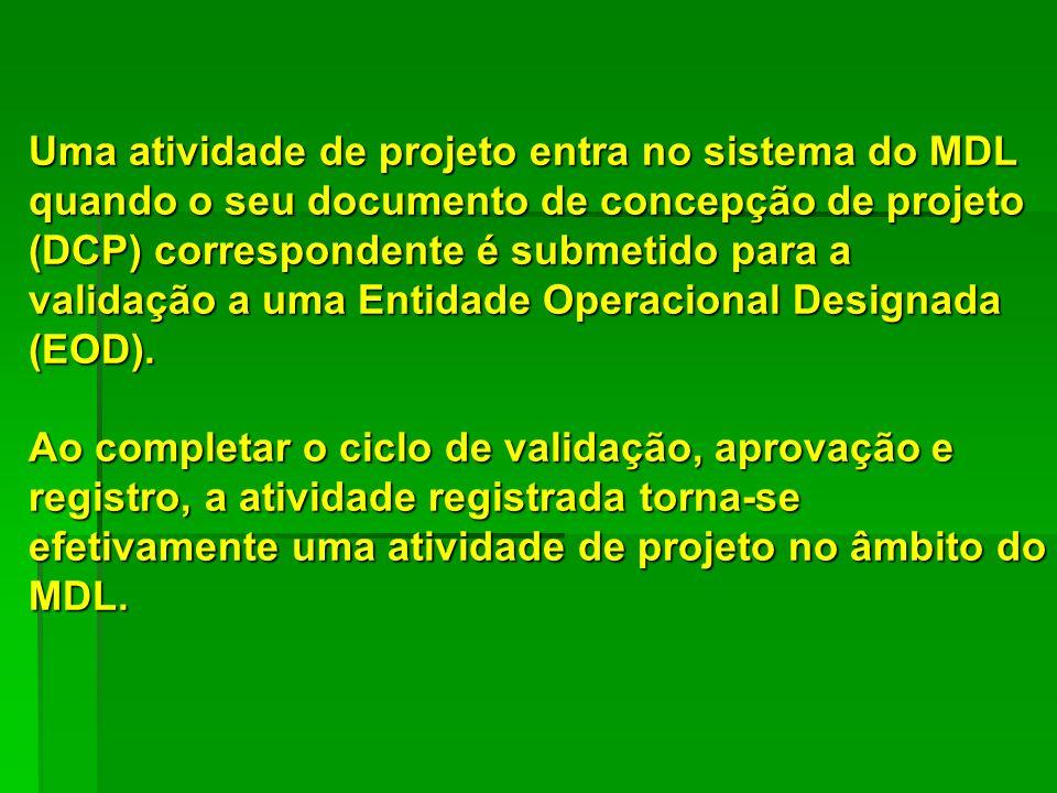 Uma atividade de projeto entra no sistema do MDL quando o seu documento de concepção de projeto (DCP) correspondente é submetido para a validação a uma Entidade Operacional Designada (EOD).