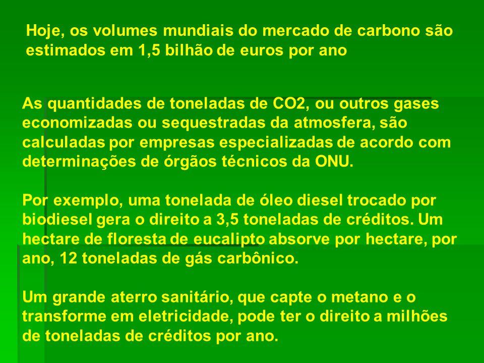 Hoje, os volumes mundiais do mercado de carbono são estimados em 1,5 bilhão de euros por ano