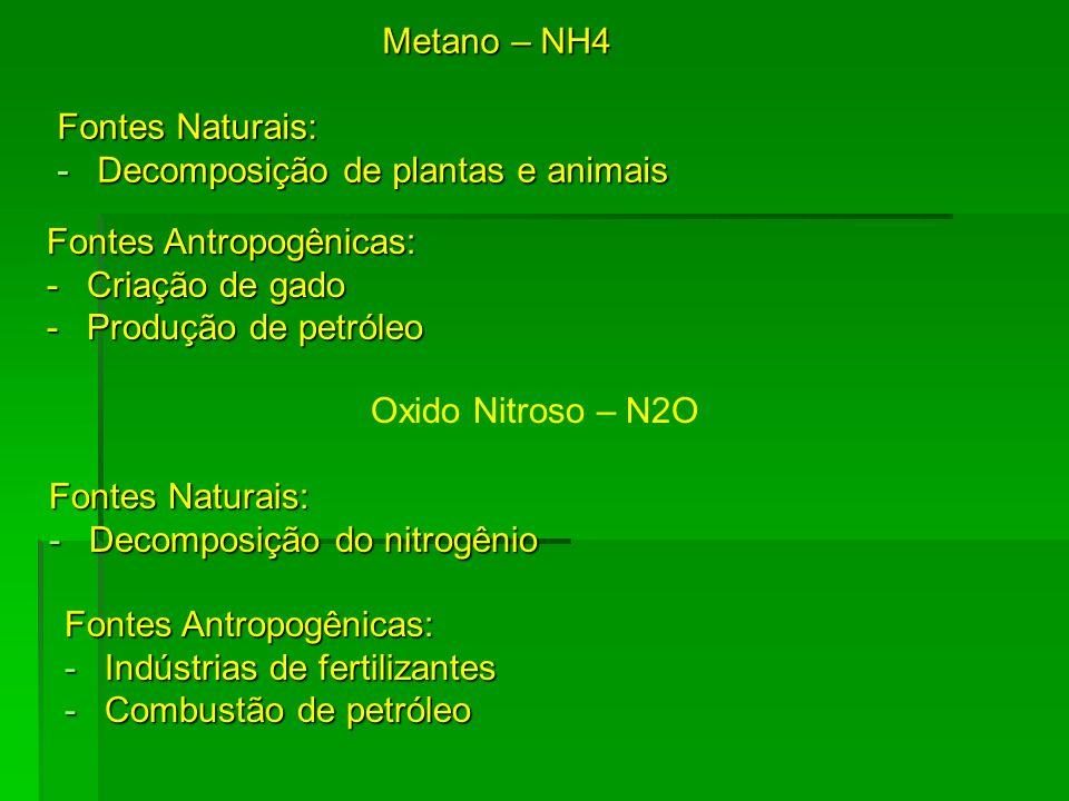Metano – NH4 Fontes Naturais: Decomposição de plantas e animais. Fontes Antropogênicas: Criação de gado.