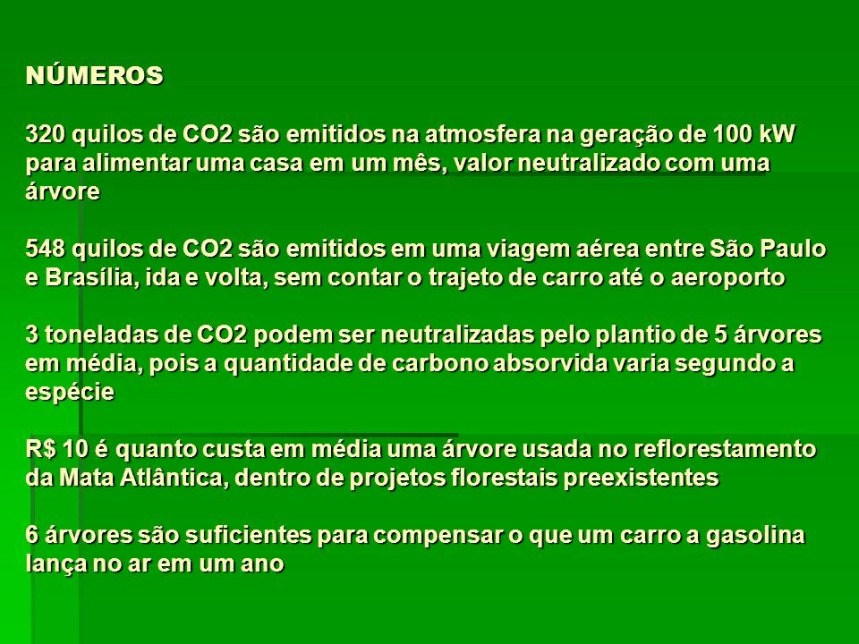 NÚMEROS 320 quilos de CO2 são emitidos na atmosfera na geração de 100 kW para alimentar uma casa em um mês, valor neutralizado com uma árvore 548 quilos de CO2 são emitidos em uma viagem aérea entre São Paulo e Brasília, ida e volta, sem contar o trajeto de carro até o aeroporto 3 toneladas de CO2 podem ser neutralizadas pelo plantio de 5 árvores em média, pois a quantidade de carbono absorvida varia segundo a espécie R$ 10 é quanto custa em média uma árvore usada no reflorestamento da Mata Atlântica, dentro de projetos florestais preexistentes 6 árvores são suficientes para compensar o que um carro a gasolina lança no ar em um ano