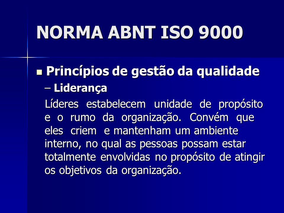NORMA ABNT ISO 9000 Princípios de gestão da qualidade Liderança