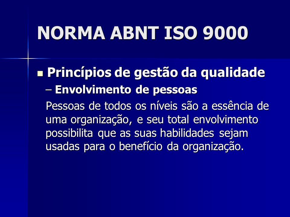 NORMA ABNT ISO 9000 Princípios de gestão da qualidade