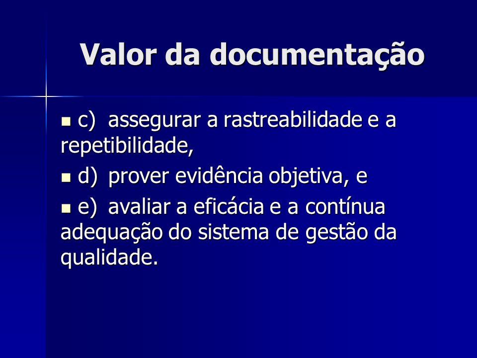 Valor da documentação c) assegurar a rastreabilidade e a repetibilidade, d) prover evidência objetiva, e.