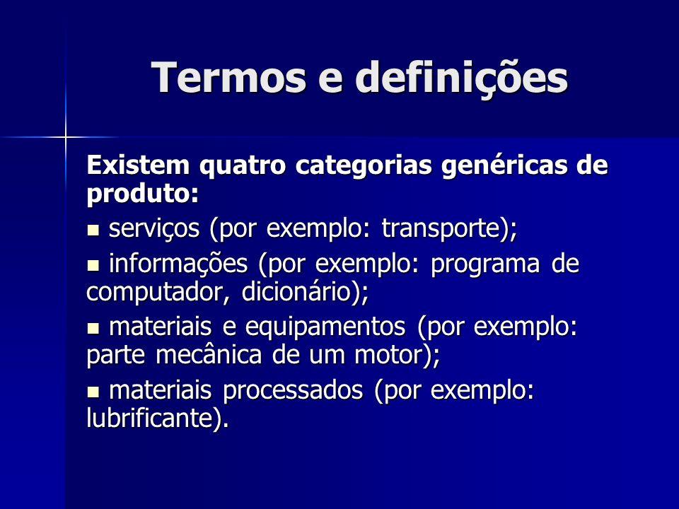Termos e definições Existem quatro categorias genéricas de produto: