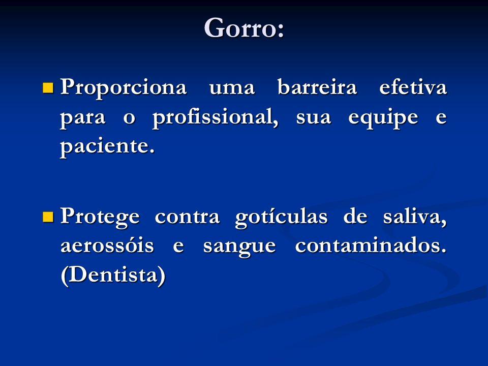 Gorro:Proporciona uma barreira efetiva para o profissional, sua equipe e paciente.