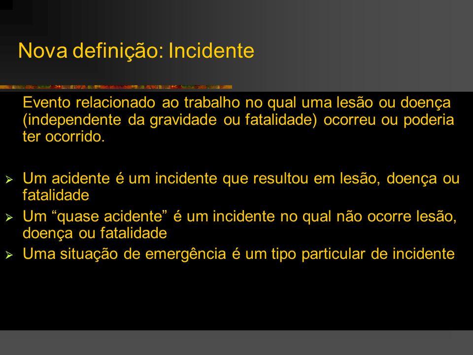 Nova definição: Incidente