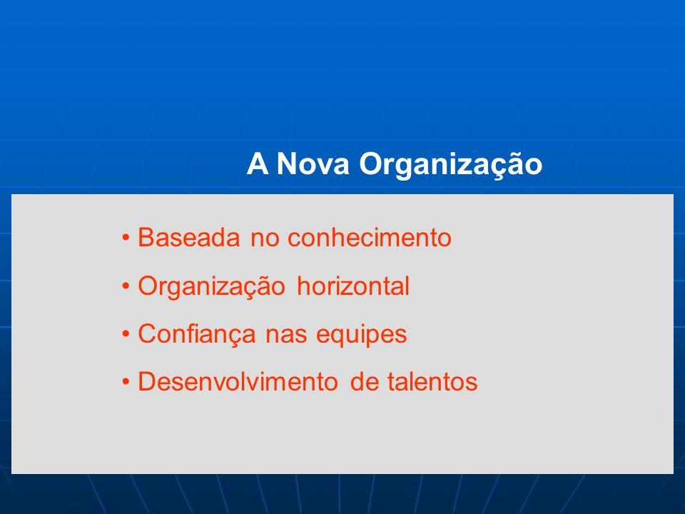 A Nova Organização Baseada no conhecimento Organização horizontal