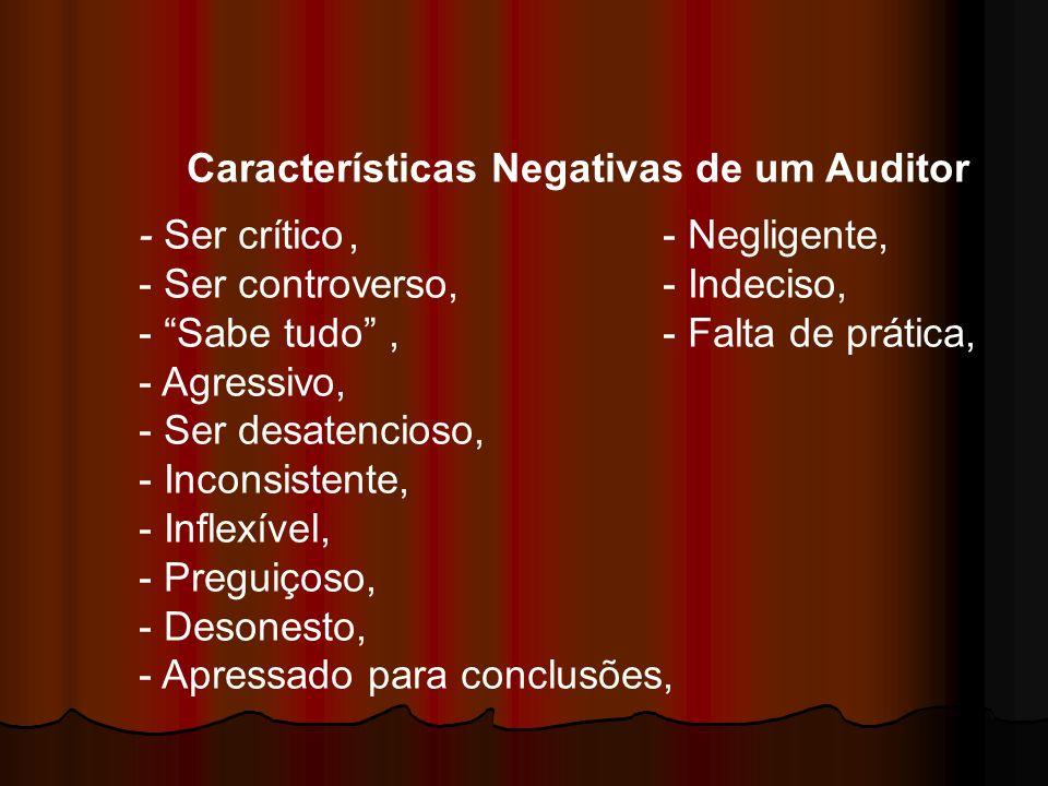 Características Negativas de um Auditor